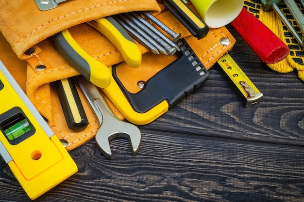 Tools in the bag for carpentry and accessories