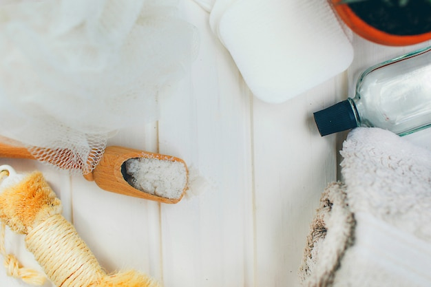Tools for beauty treatment and towels