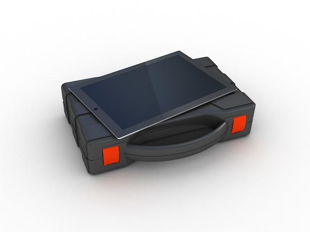 Ящик для инструментов и планшетный пк. 3d иллюстрации