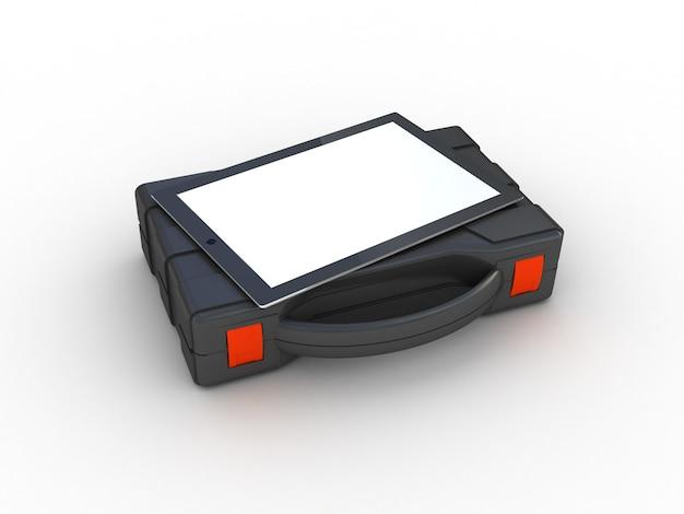 Ящик для инструментов и планшетный пк.