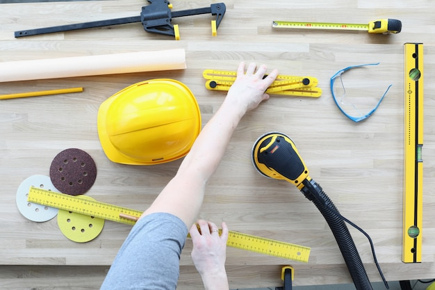 Tools for construction and repair on table