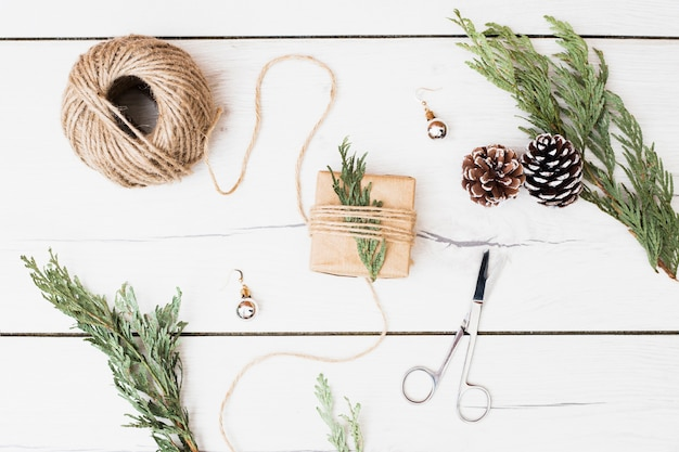 Tools and decorations for wrapping christmas present