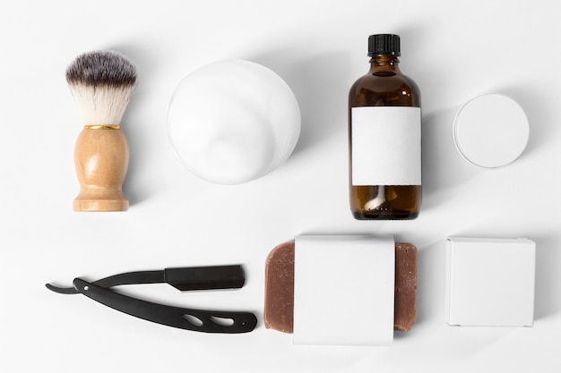 Tools for grooming beard flat lay