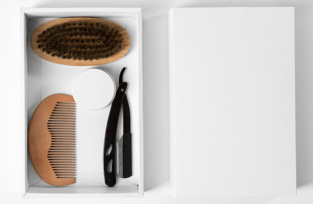 Tools for grooming beard in package box