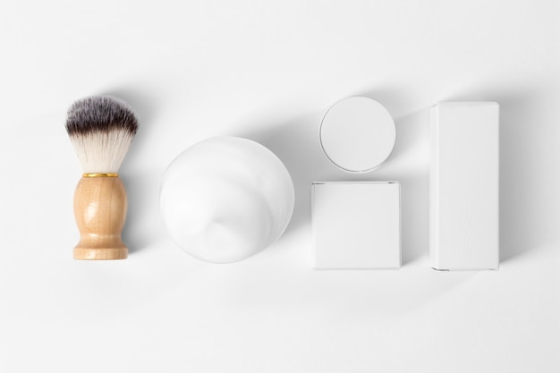 Tools for grooming beard on white background