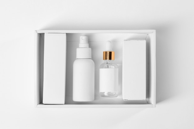 Tools for grooming beard in a white box flat lay