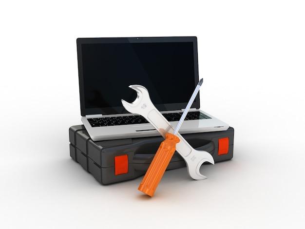 Tools on laptop. 3d illustration