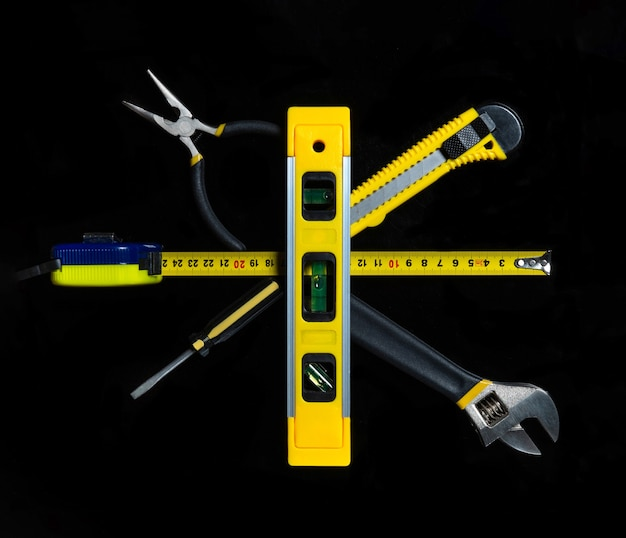 Tools for master builder isolated on black