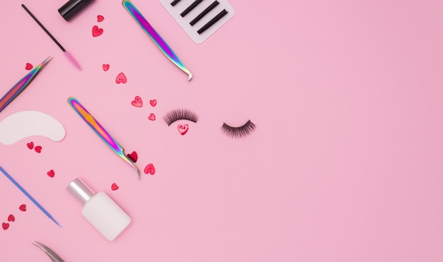 Tools and patches for eyelash extensions and artificial eyelashes and red hearts