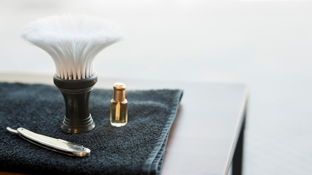 Tools for shaving beard on desk