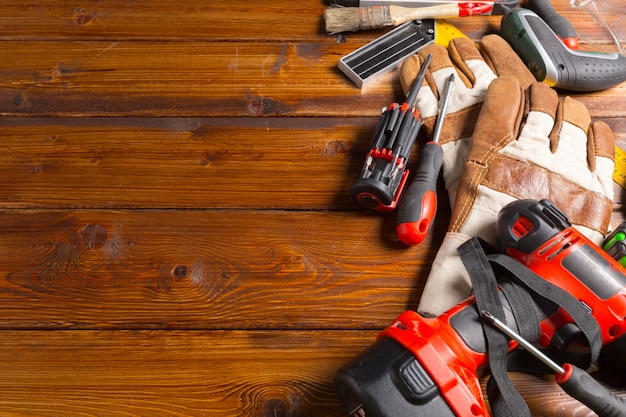 Tools on table shot in studio, top view,