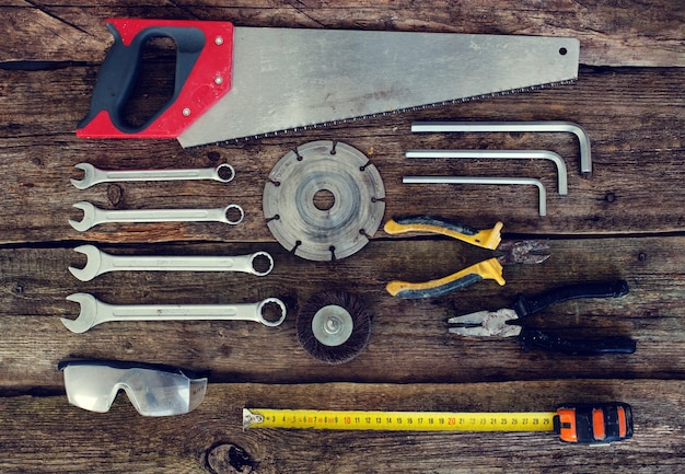 Tools on the wooden table