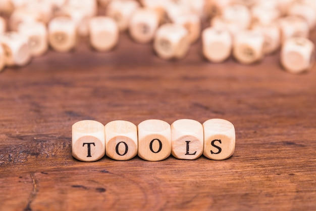 Tools word made with wooden cube