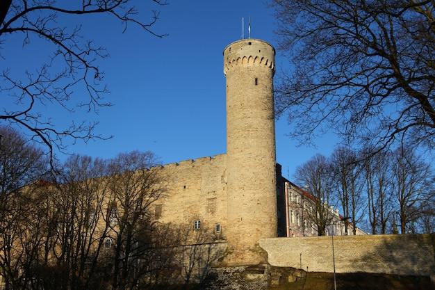 春先の晴れた日までにエストニアのタリンにあるトゥームペア石灰岩の城。エストニアと青い冷たい空のランドマーク