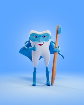 Tooth as super hero with  wooden toothbrush. render 3d illustration