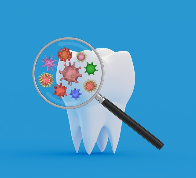Зубные бактерии под увеличительным стеклом. 3d иллюстрация
