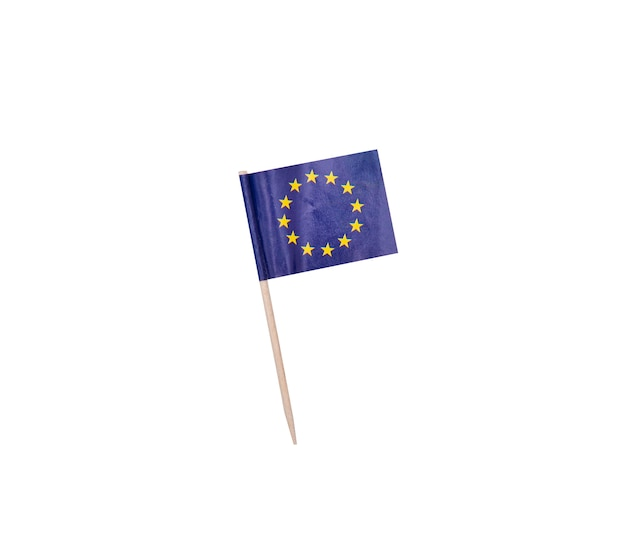 Tooth pick wit a paper flag of the european union, eu flag on a wooden toothpick