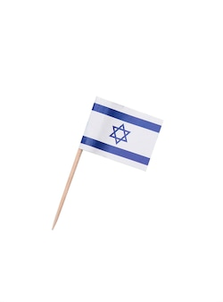 Tooth pick wit a paper flag of israel, israeli flag on a wooden toothpick isolated on white