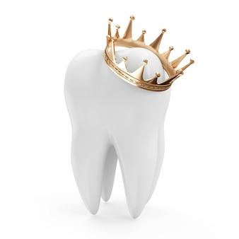 白い背景で隔離の黄金の王冠と歯