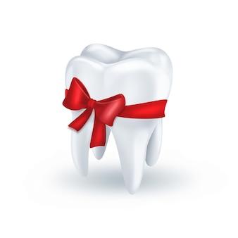 Зуб с красным бантом на белом фоне