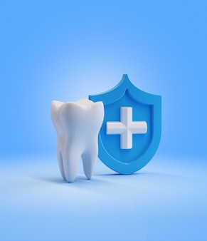Tooth  with  shield. render 3d illustration