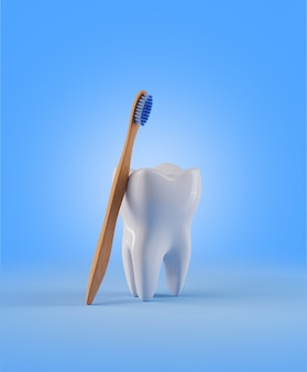 Tooth  with  wooden toothbrush. render 3d illustration