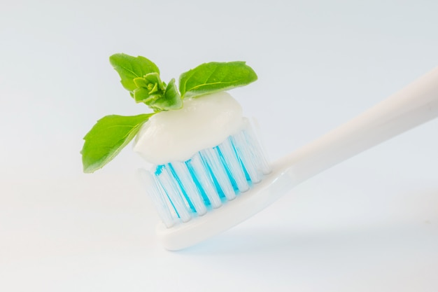 Toothbrush with paste and mint leaves on a light background. the concept of dental care, refreshing toothpaste, dentistry.