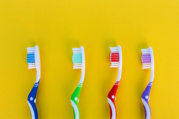 Toothbrushes on a row