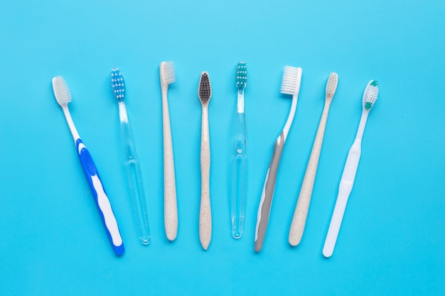 Toothbrushes. top view
