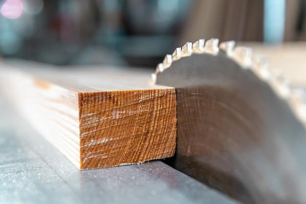 Toothed metal blade on circular saw in joinery