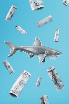青い背景に100ドル札に囲まれた中央の歯ごたえのあるサメ。