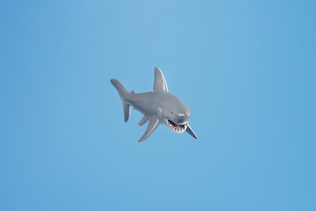 Игрушка зубастая акула на синем фоне со свободным пространством. изолированная концепция