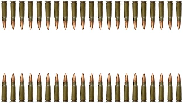 Границы пули сверху и снизу, изолированные на белом фоне