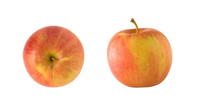 白い背景で隔離の赤と黄色のリンゴ果実全体の上面図と側面図