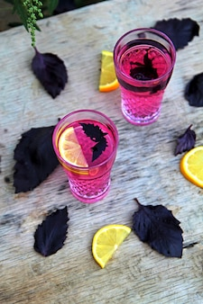 Top  basil lemonade in glasses