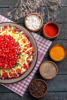 Piatto vista ravvicinata dall'alto sulla tovaglia piatto gustoso nel piatto sulla tovaglia a scacchi e spezie colorate pepe nero