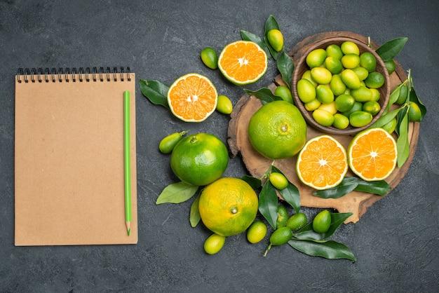 Top vista ravvicinata frutti bordo della matita verde del taccuino degli agrumi