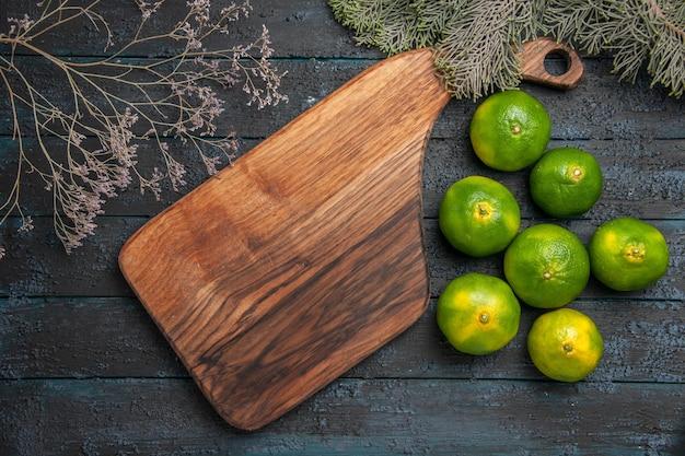 Vista ravvicinata dall'alto lime e lime da tavola accanto al tagliere accanto ai rami degli alberi