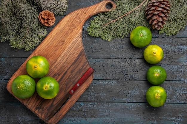 Vista ravvicinata dall'alto lime e rami tre lime verde-giallo e coltello sul tagliere accanto ai lime e rami e coni di alberi