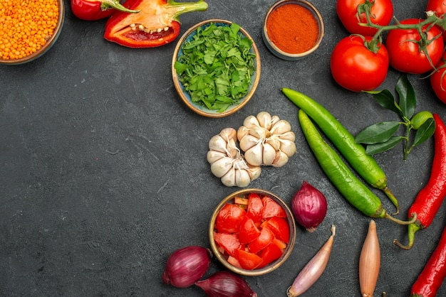 Top close-up view vegetables lentil in bowl colorful spices vegetables