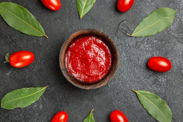 Vista ravvicinata dall'alto una ciotola di ketchup intorno a pomodorini e foglie di alloro su fondo scuro