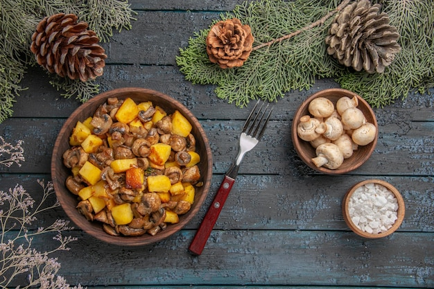 Top close view dish and branches plate of mushrooms and potatoes on the grey table under the spruce branches with cones next to the fork mushrooms and salt