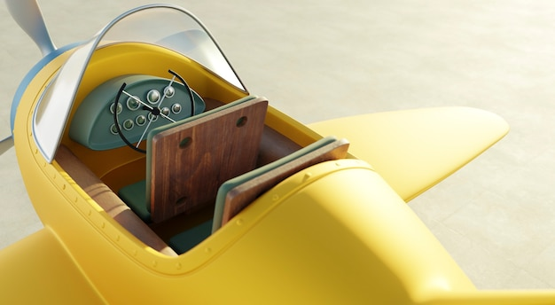 Top and closeup angle view of retro cute yellow and blue two seat airplane . 3d rendering .