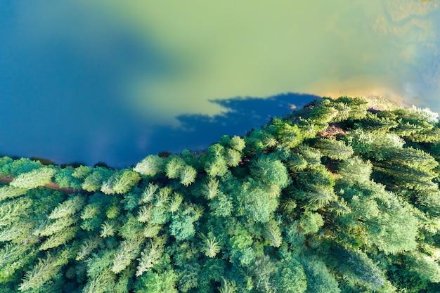 鬱蒼とした常緑樹林に覆われた高い山の丘の間に澄んだ青い水がある大きな湖の空中写真を上から見下ろします。