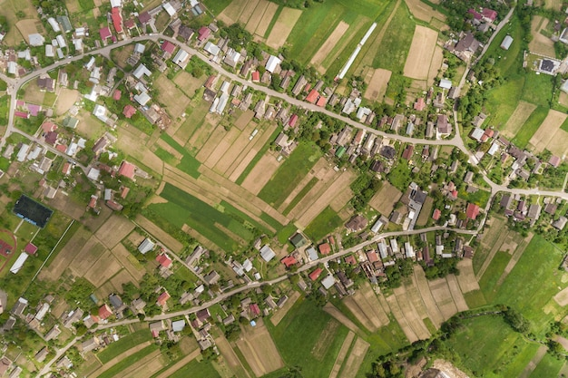 Top down aerial view of town or village
