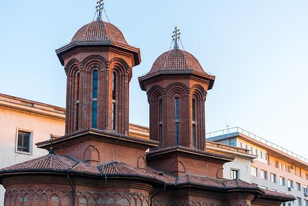 Top facade of kretzulescu church in bucharest