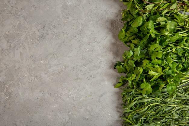 Top prezzemolo tarragonnd erbe fresche con spazio di copia su grigio
