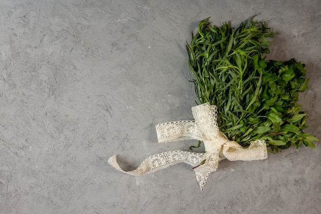 Top  fresh herbs with copy space on grey