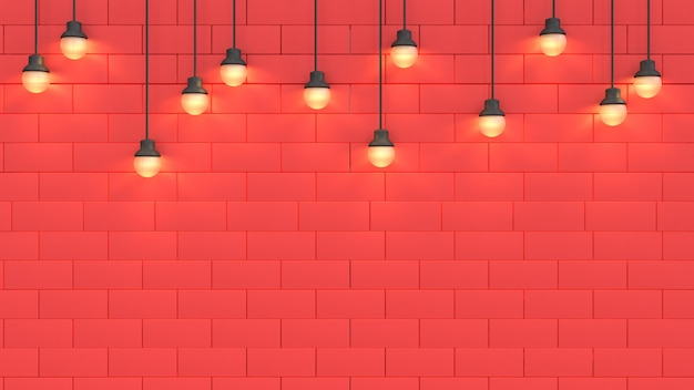 Top light and space of red wall background