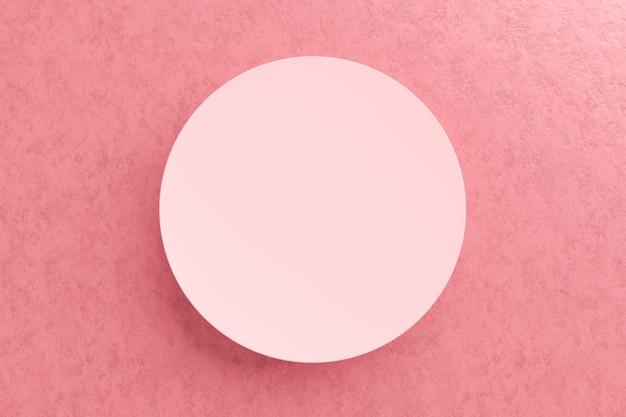製品の上部または表彰台はピンクの背景の上に立つ。デザインのためのモダンな台座。 3dレンダリング。